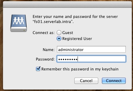 User and password prompt