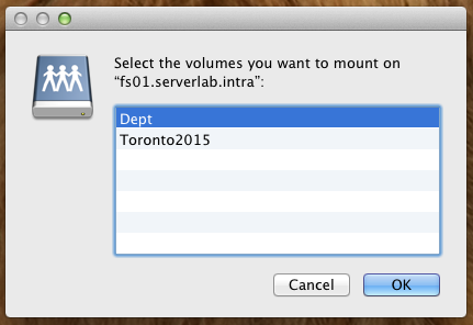 Select shared volumes to mount in OS X