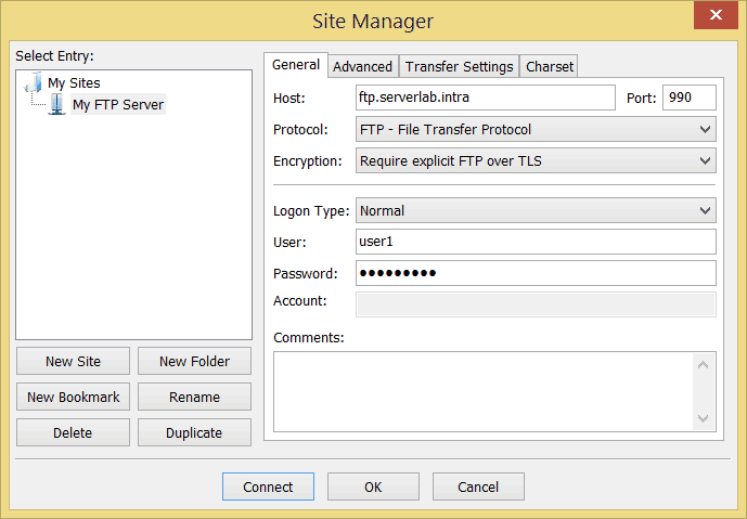 FileZilla Site Manger Settings for TLS