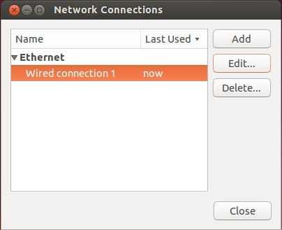 Ubuntu network connections dialog box