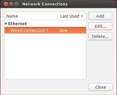 Ubuntu network connections dialog box