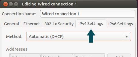 Network connections dialog box - IPv4 Settings tab