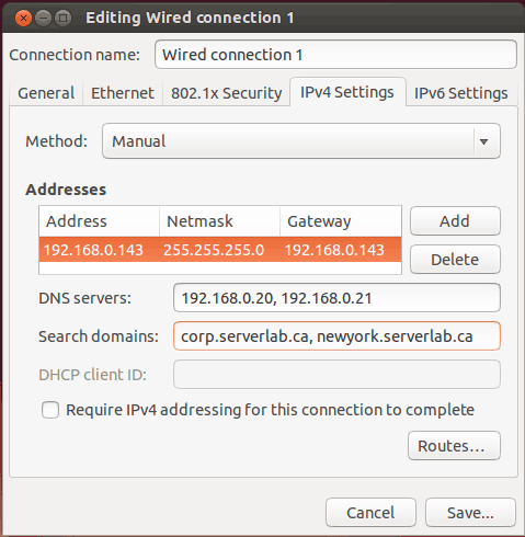 Editing Ubuntu Network Connection dialog box
