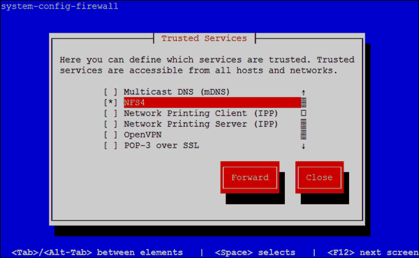 System Config Firewall - Trusted Services