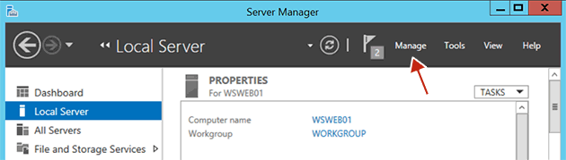 Click the Manage link in Server Manager