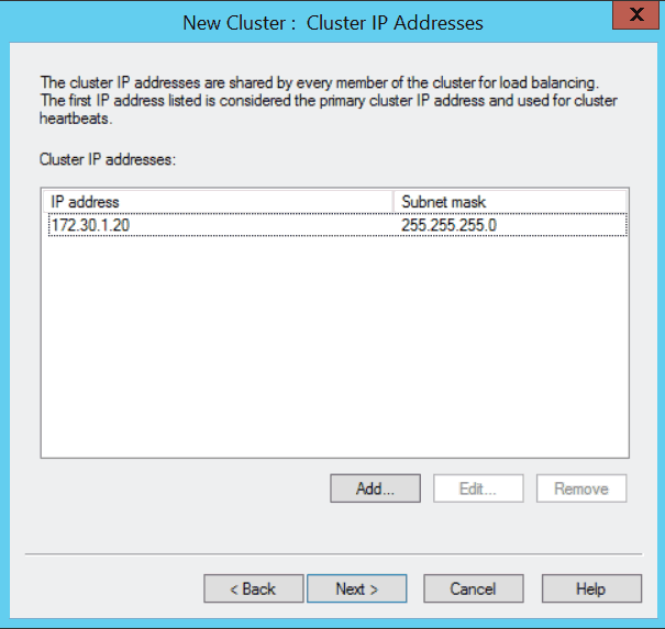 Windows Server 2012 NLB New Cluster Cluster IP Addresses