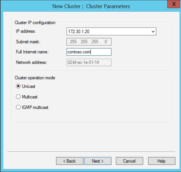 Windows Server 2012 NLB New Cluster Cluster Parameters