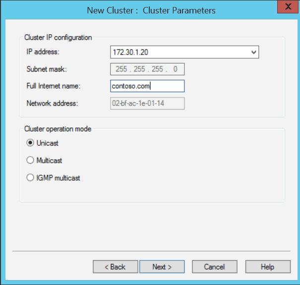 Windows Server 2012 NLB New Cluster Cluster Parameters