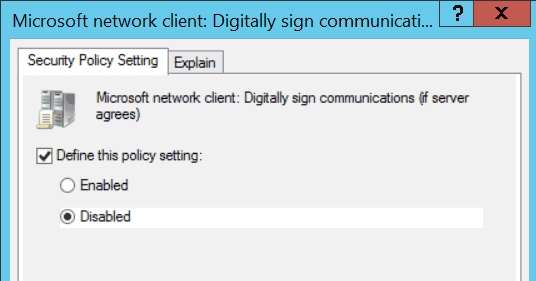 Microsoft network client: Digitally sign communications (if server agrees) GPO.