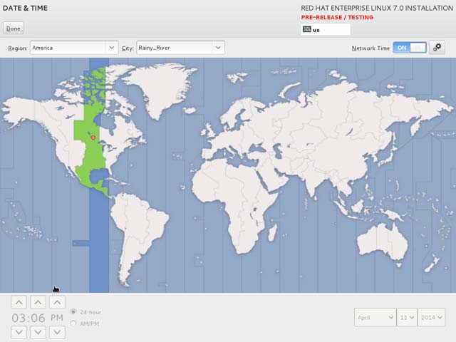 RHEL 7 Installation - Date & TIme screen