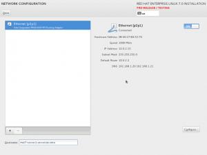 RHEL 7 Installation - Network Configuration