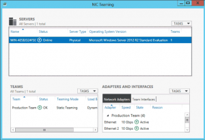NIC Teaming console in Windows Server 2012 R2