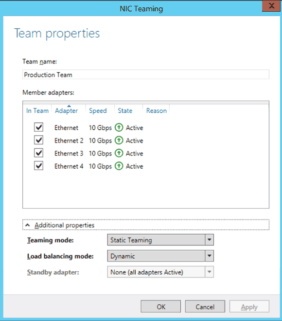 New NIC Team dialog box in Windows Server 2012 R2