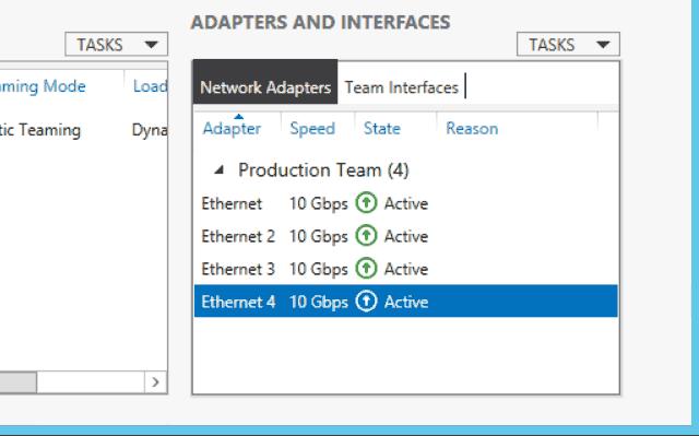 NIC teaming adapter status in Windows Server 2012 R2