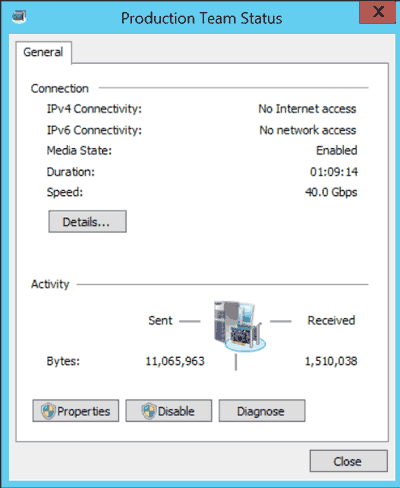 NIC team status dialog box in Windows Server 2012 R2
