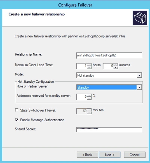 Configure DHCP Failover Relationship
