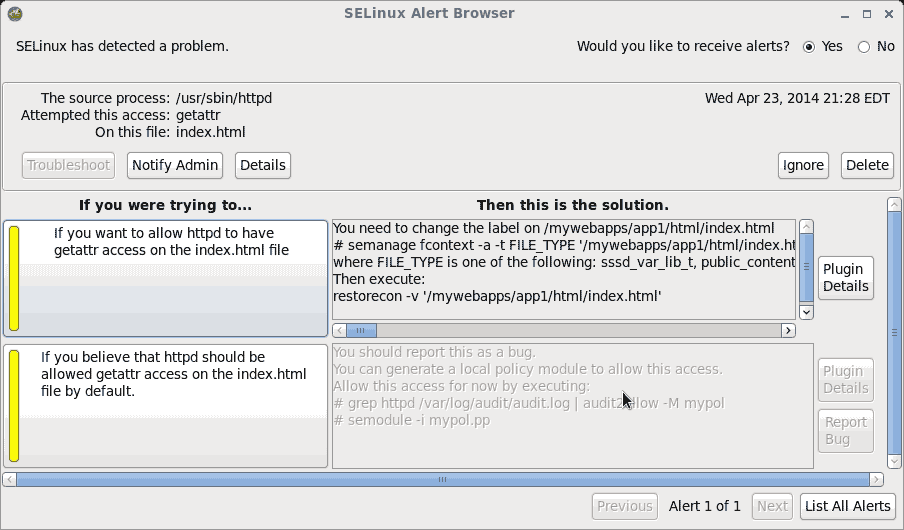SELinux Alert Browser Troubleshoot