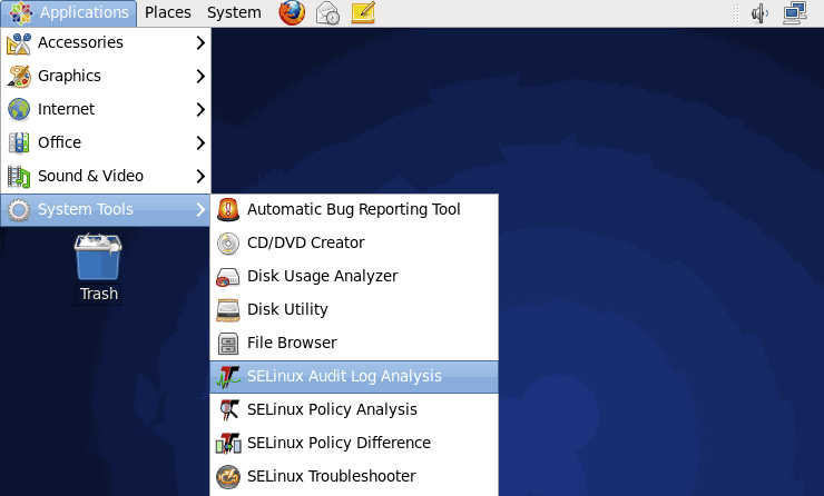 Applications Menu - Selinux Audit Log Analyzer