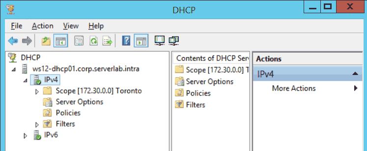 Windows Server 2012 R2 DHCP Console