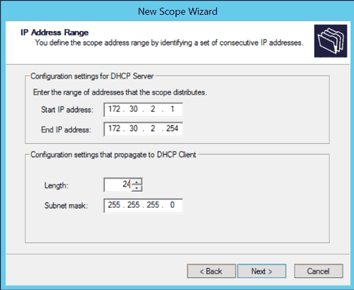 Windows DHCP New Scope Wizard: IP Address Range