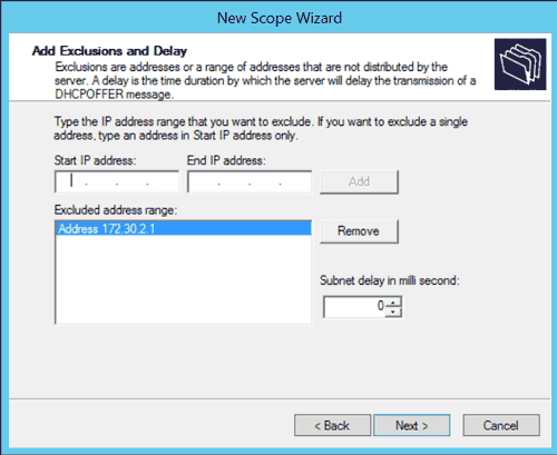 Windows DHCP New Scope Wizard: Add Exclusions and Delay
