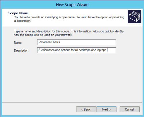DHCP New Scope Wizard: Scope Name