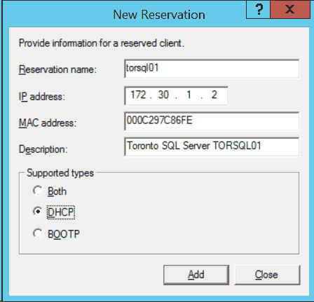 Windows DHCP New Reservation