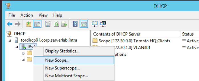 Windows DHCP New Scope context menu
