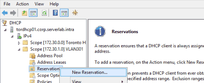 Windows DHCP Scope Reservation