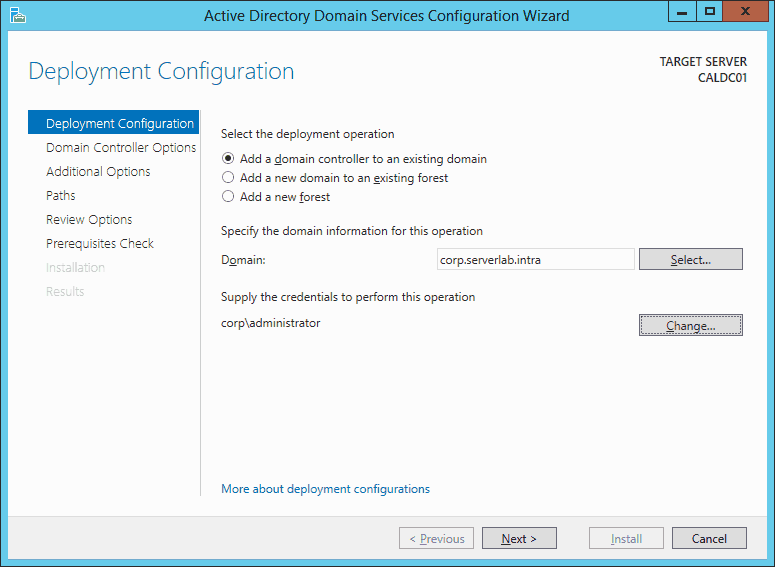 FIG3 - Deployment configuration screen