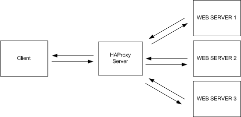 FIG1 - All balanced traffic flows in and back out of the HAProxy server