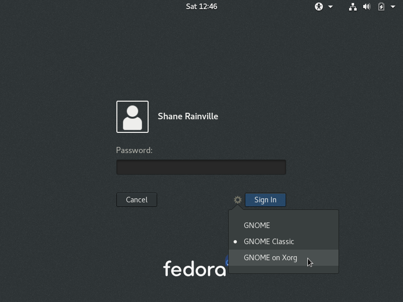 Fedora Login Screen