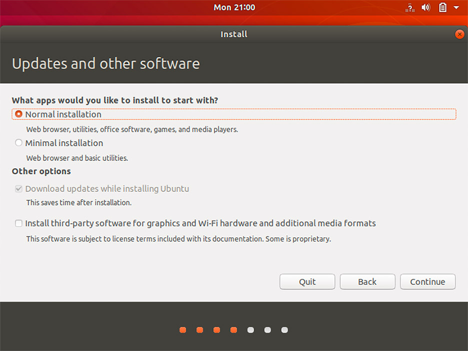 Ubuntu 18.04 installation screen