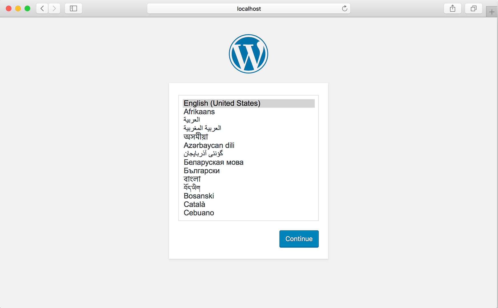 Wordpress 4.9.5 Initial Setup Scfreen Screen