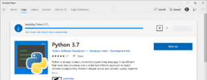 Installing Python 3.7 from Windows Store
